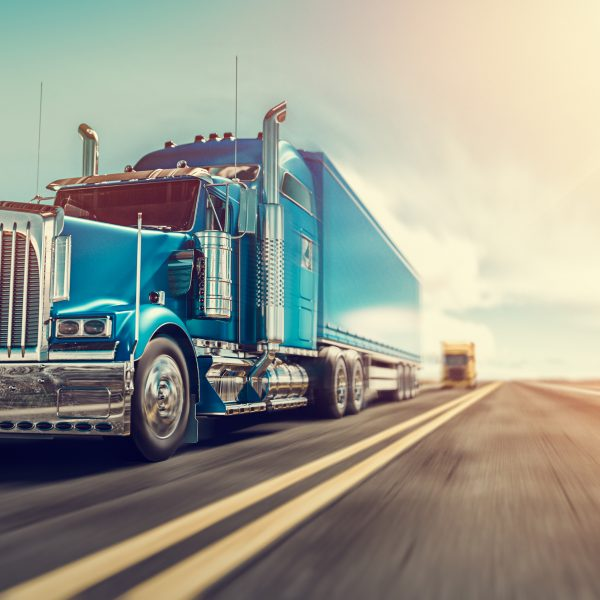 The truck runs on the highway with speed. 3d render and illustration.