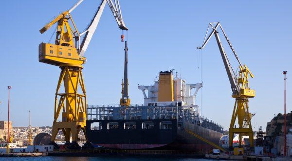 Ship in dry dock at Grand harbour (Valletta, Malta)